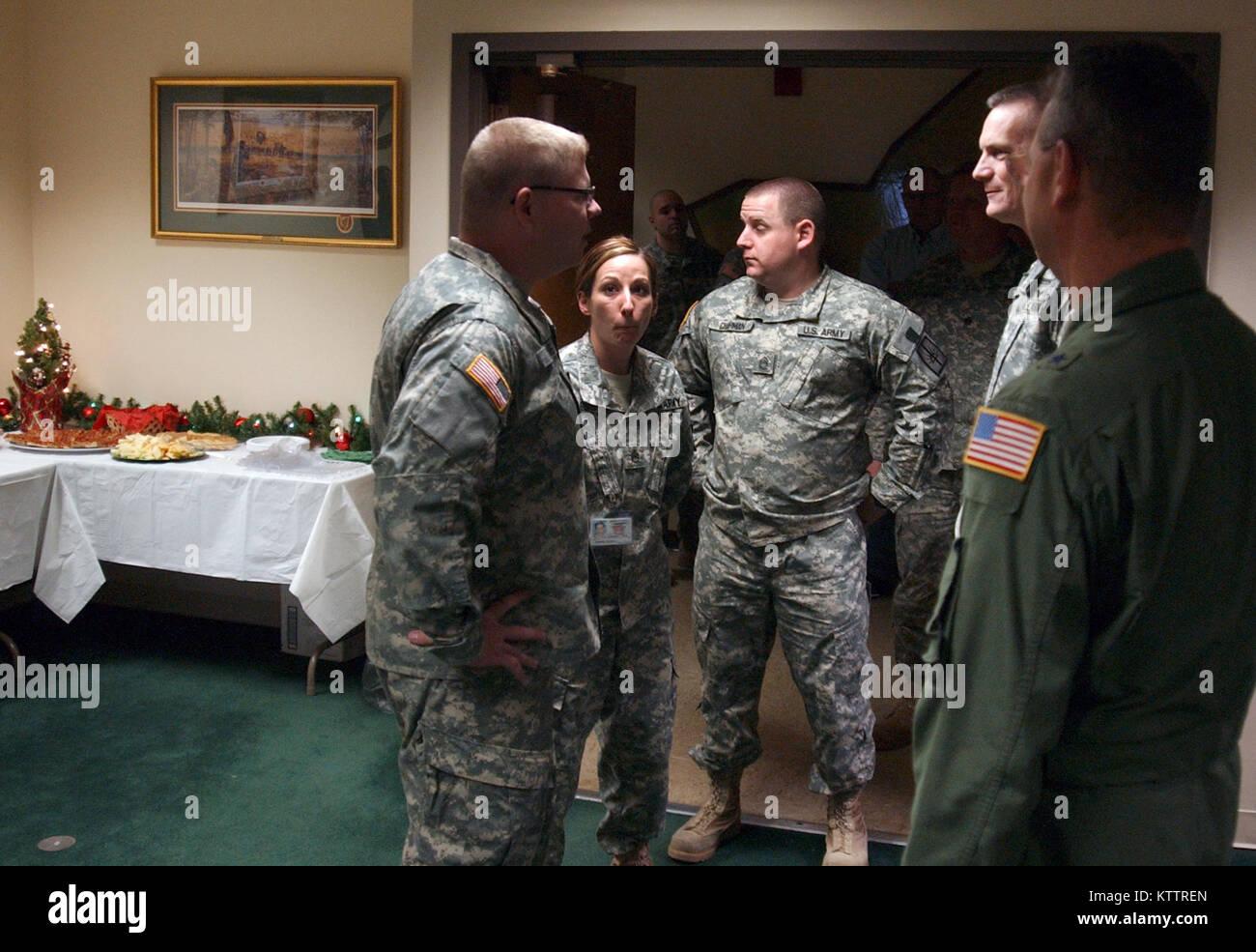 Maj. Gen. Patrick Murphy and Deputy Adjutant General Brig. Gen. Anthony German greet Division of Military and Naval Stock Photo