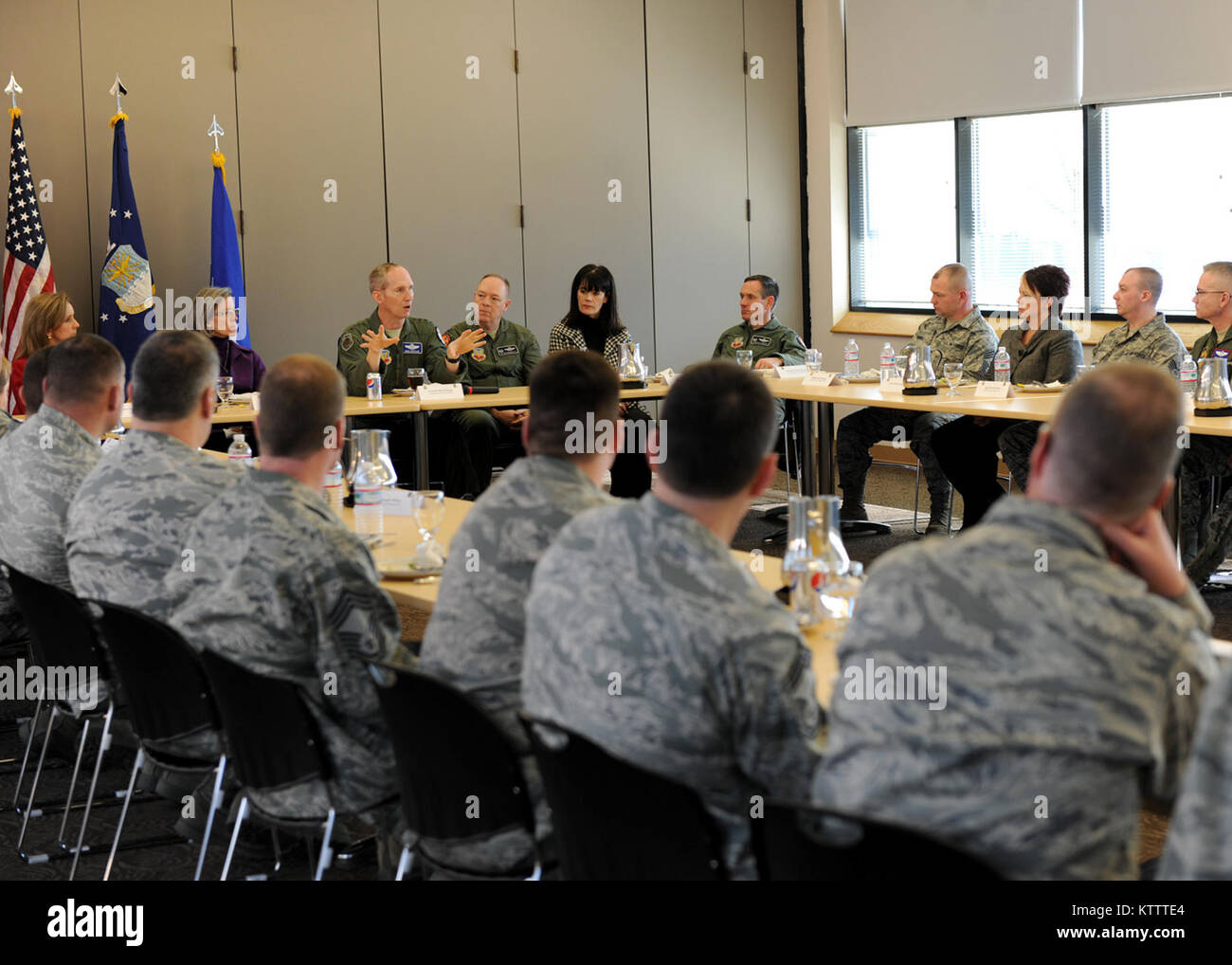 U. S. Air Force Gen. Mike Hostage, Air Combat Command (ACC) Commander, speaks to the Men and Woman of Hancock Field - Stock Image