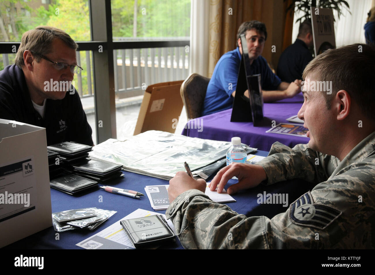 WEST HARRISON, N.Y. -Staff Sgt. Michael Glod, 106MXS, participating in a vendor drawing while learning about USAA's Stock Photo