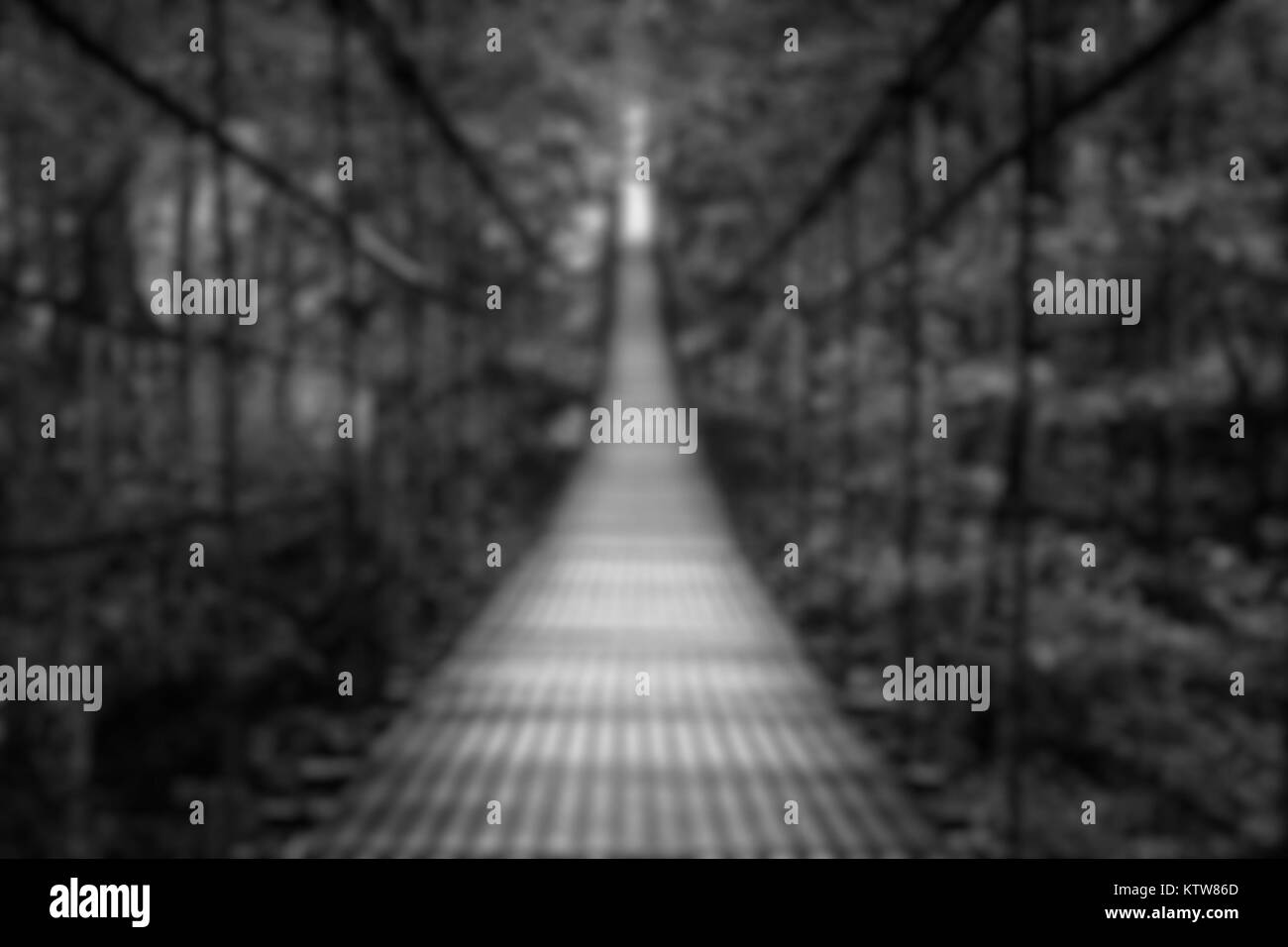 suspension bridge, blurred background - Stock Image