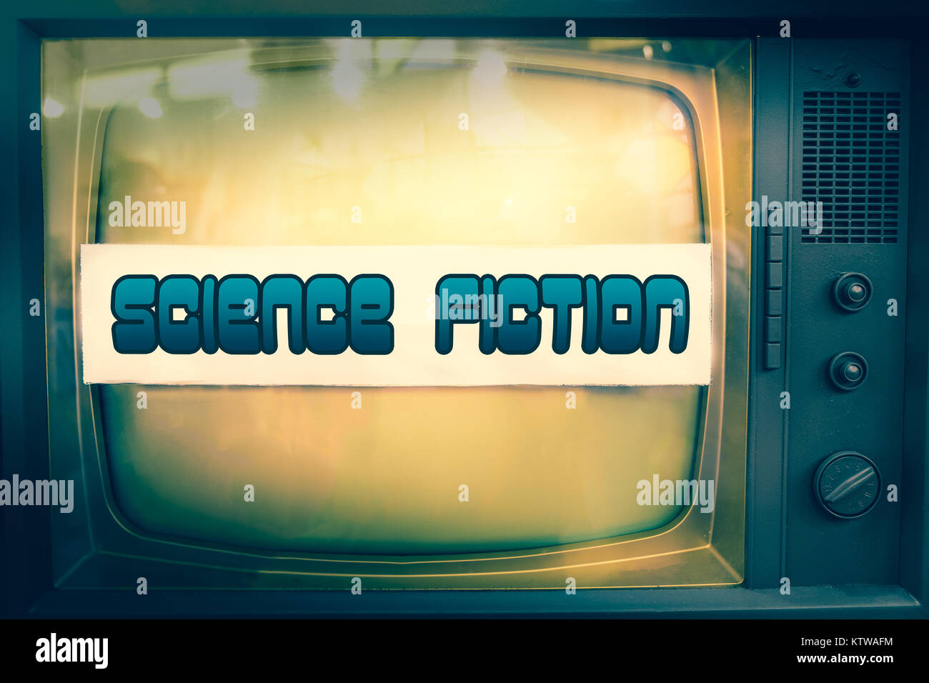 science fiction movie genre sci-fi television label old tv text  - Stock Image