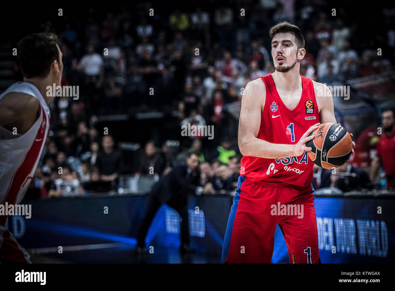 Guard Nando De Colo of CSKA Moscow with a ball during the match - Stock Image