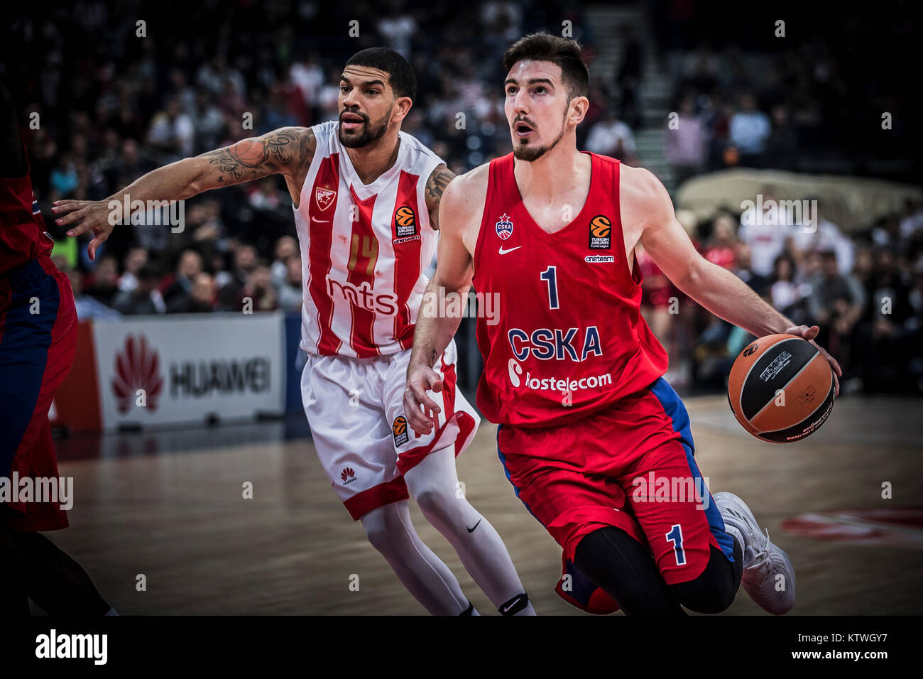 Guard Nando De Colo of CSKA Moscow drives to the basket during the match - Stock Image