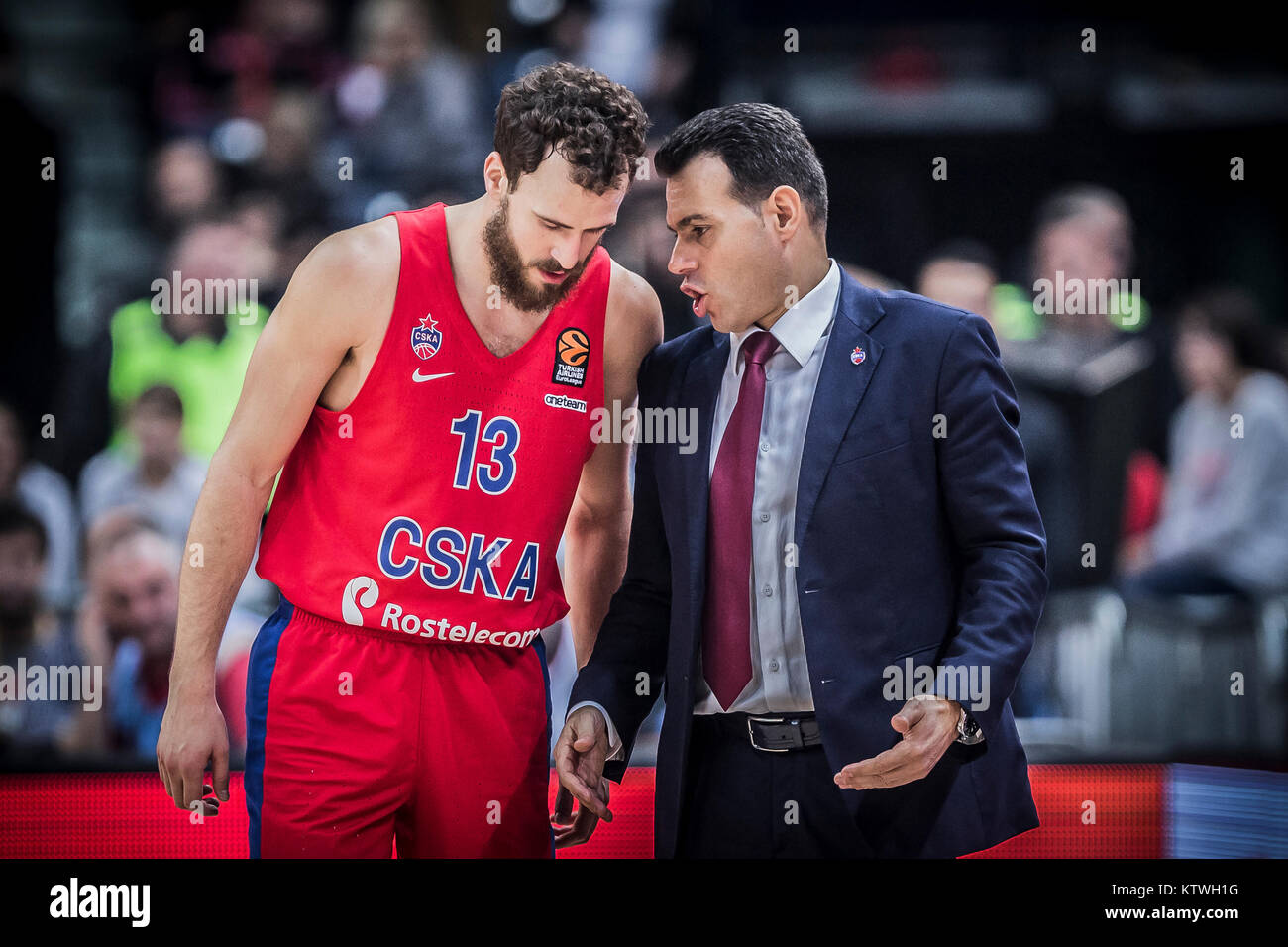 3bc39944369 Head Coach Dimitris Itoudis of CSKA Moscow gives advices to Guard Sergio  Rodriguez of CSKA Moscow during the match