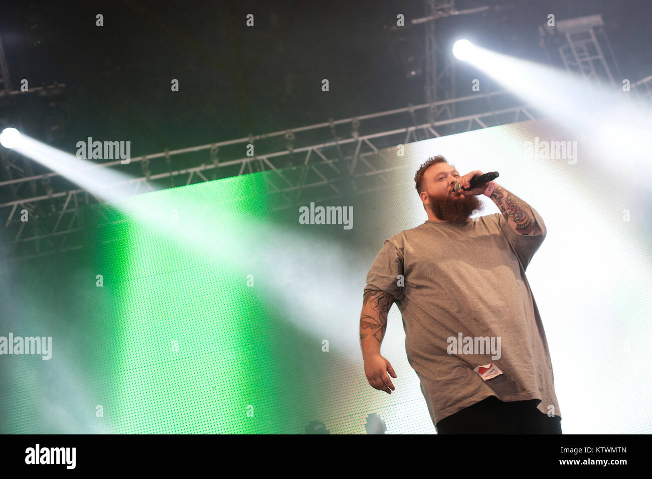 The American rapper Action Bronson is a big man and a well-respected poet in American hip hop. Denmark 2013. - Stock Image