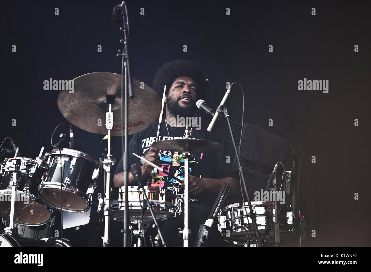 The American hip hop, rap and soul band The Roots performs a live concert at Roskilde Festival 2012. Here drummer Stock Photo