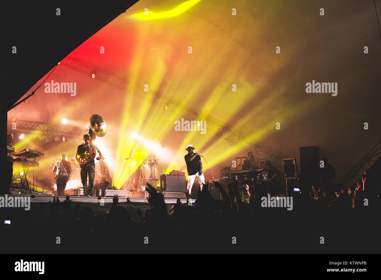 The American hip hop, rap and soul band The Roots performs a live concert Vanguard Festival 2014 in Copenhagen. Stock Photo