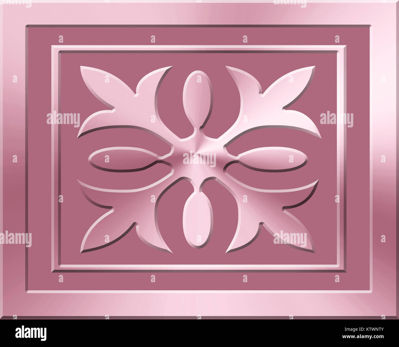 Ornamental emblem in two shades of Pastel Pink - Stock Image