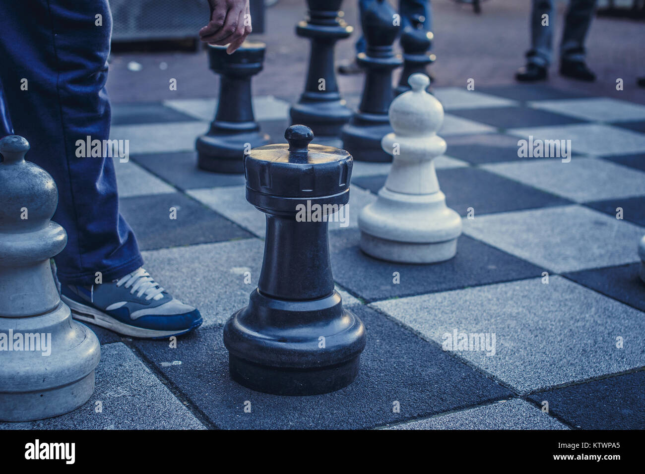 Big board with chess on the street. - Stock Image