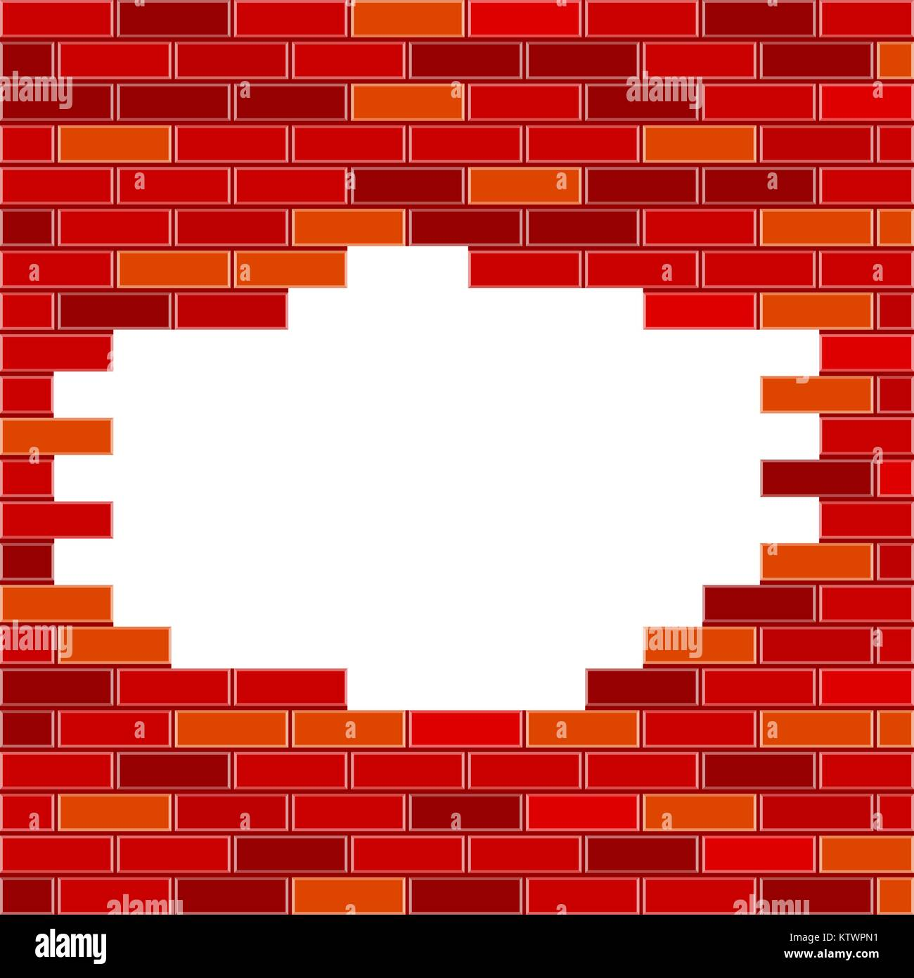 Vector Brick Wall with Hole and Sample Text - Red - Stock Image