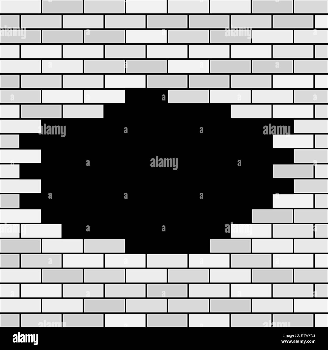 Vector Brick Wall with Hole and Sample Text - White - Stock Image