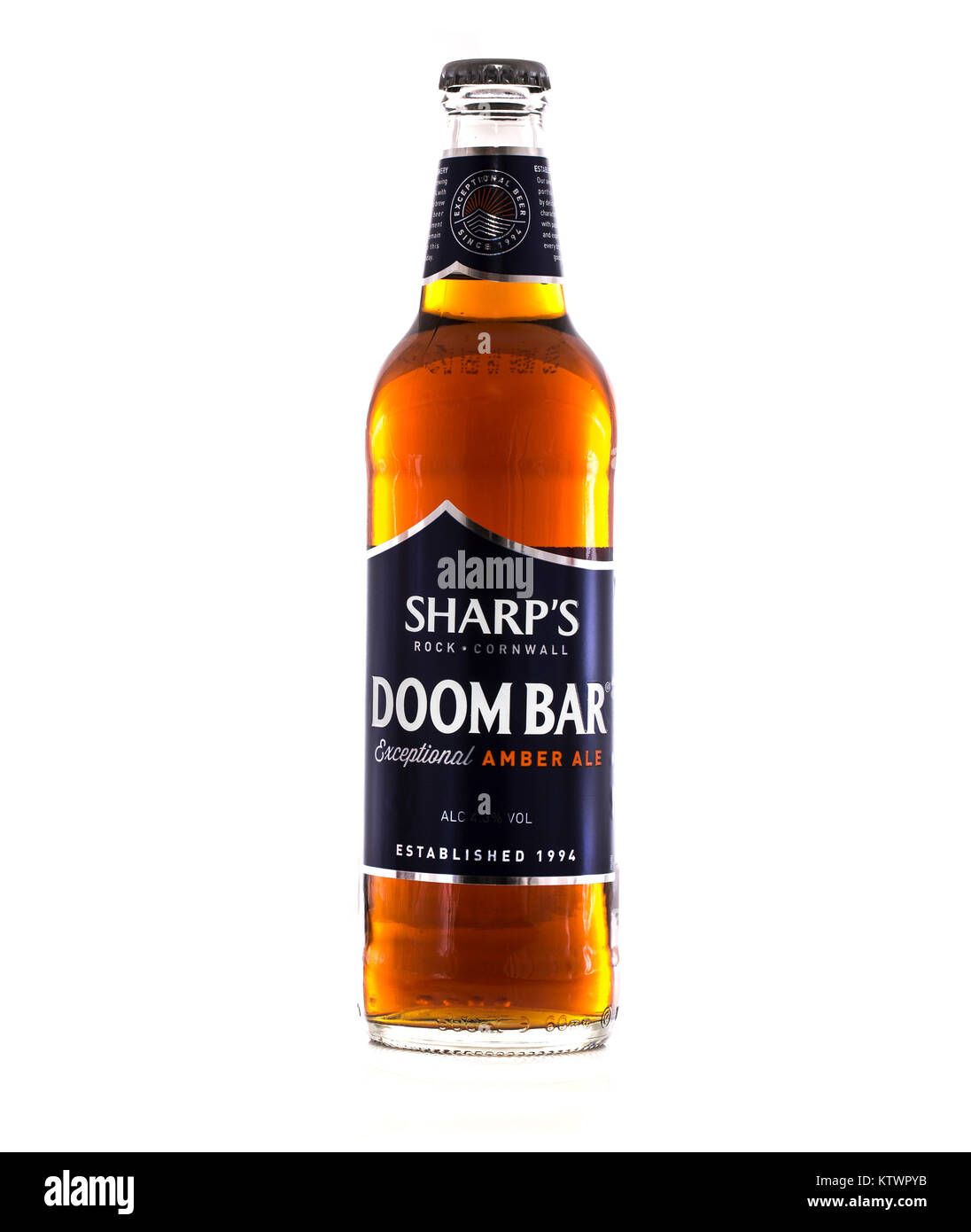 SWINDON, UK - DECEMBER 27, 2017: Bottle of Sharps Doombar Exceptional Amber Ale on a white background Stock Photo