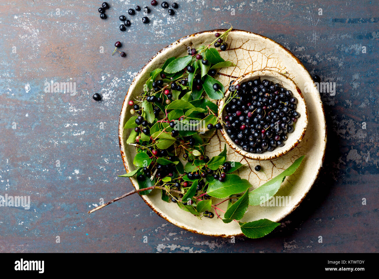 Superfood MAQUI BERRY. Superfoods antioxidant of indian mapuche, Chile. Bowl of fresh maqui berry and maqui berry - Stock Image
