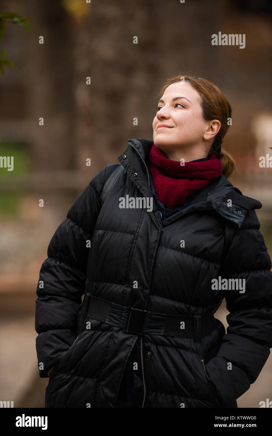 Woman Posing, Outdoor shots in Park, Winter - Stock Image