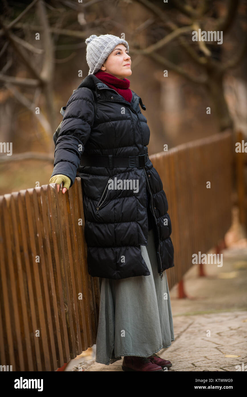 Winter is here, Woman Outdoor shots in Park, - Stock Image