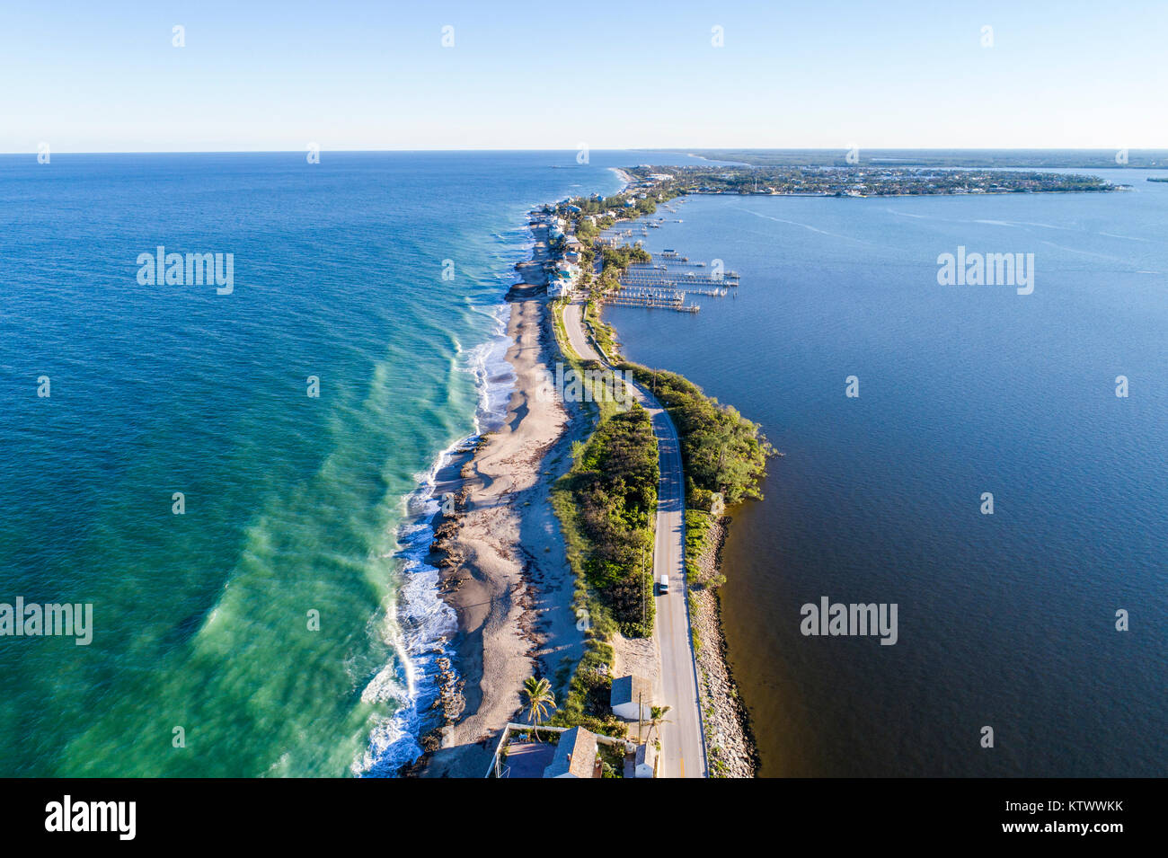 Hutchinson Island Florida Stuart Atlantic Ocean Indian River Ecological Lagoon Ross Witham Beach Sailfish Point - Stock Image