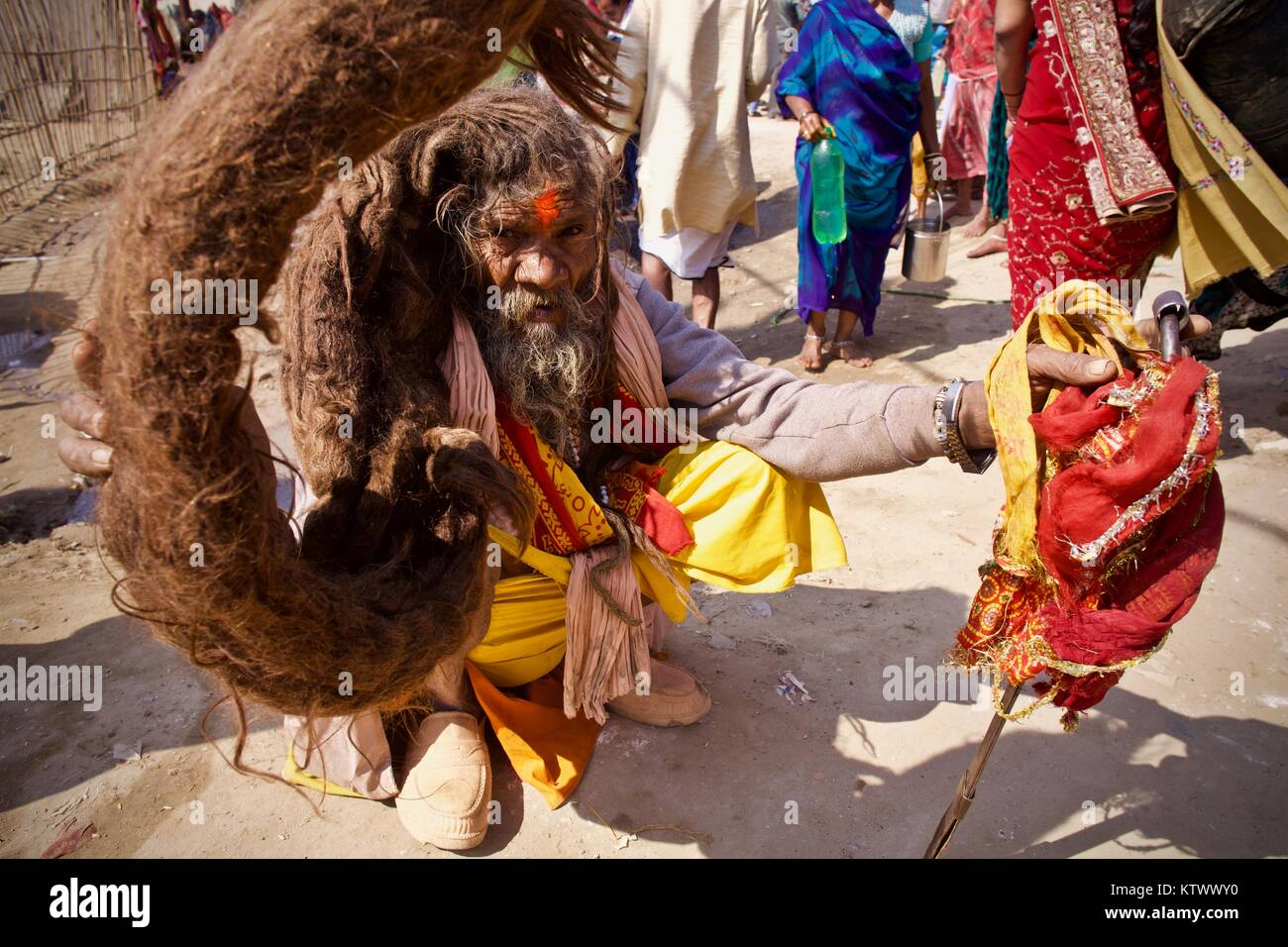 Sadhu with enormous dreadlock braid in 2013 Kumbha Mela in Allahabad (Prayag) - Stock Image
