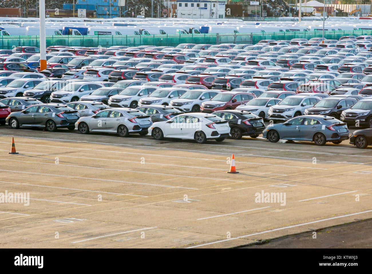 New cars for export at Southampton Docks, Port of Southampton 2017, Southampton, England, UK - Stock Image