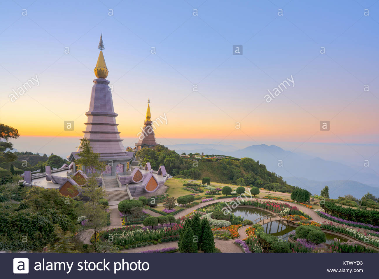 Landscape of two pagoda on the top of Inthanon mountain, Chiang Mai, Thailand. - Stock Image