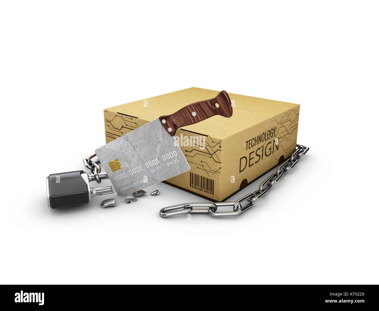 3d Illustration of broken padlock with chain and software box, isolated white - Stock Image