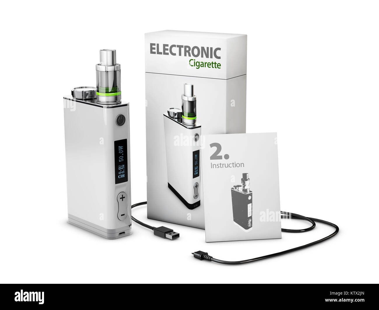Vape Pen with box and charge cable. Electronic Cigarette, 3d Illustration isolated white - Stock Image