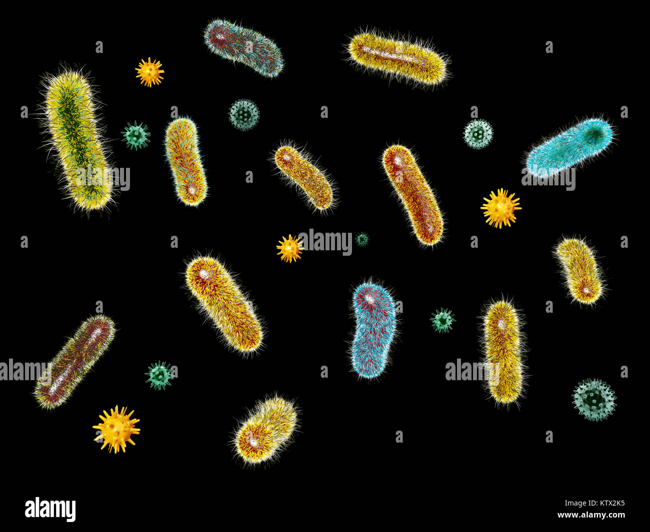 3d Illustration of Virus bacteria. Microorganisms and bacillus. - Stock Image