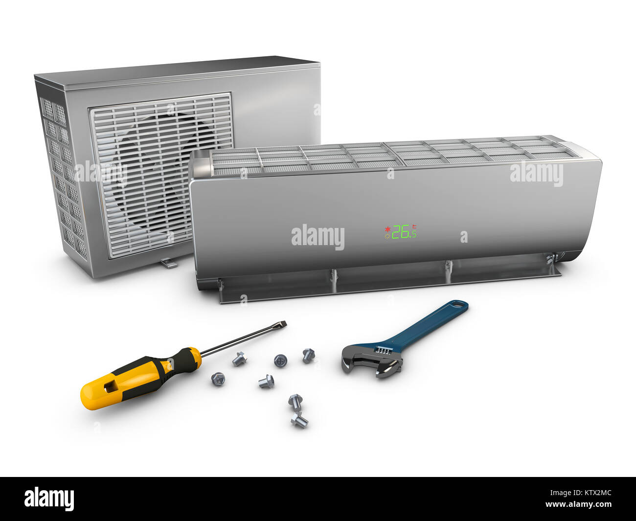 Air conditioner repair and installing concept, 3d illustration Stock