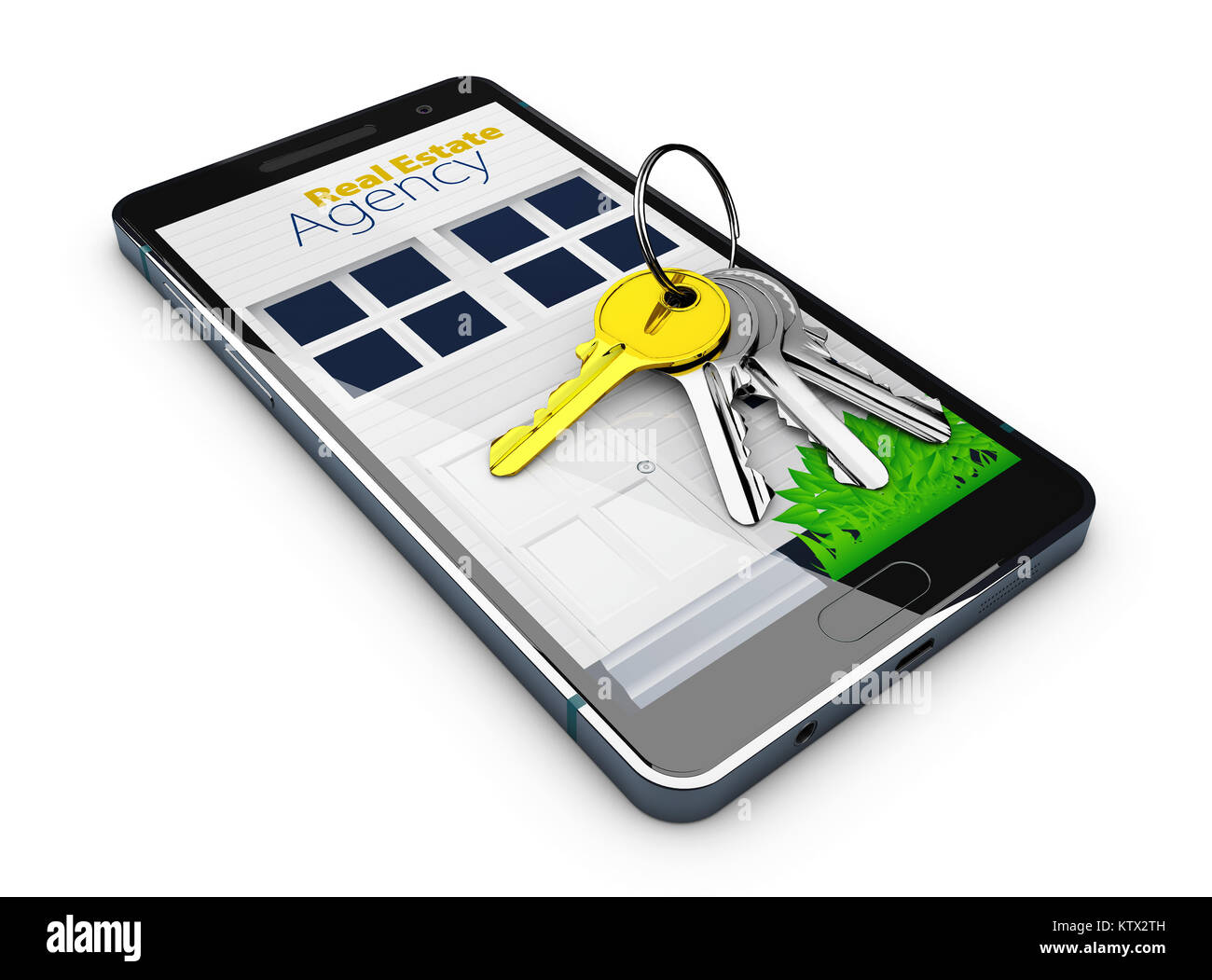 3d Illustration of Mobile app template, online sale or rent concept with keys on screen. isolated white Stock Photo