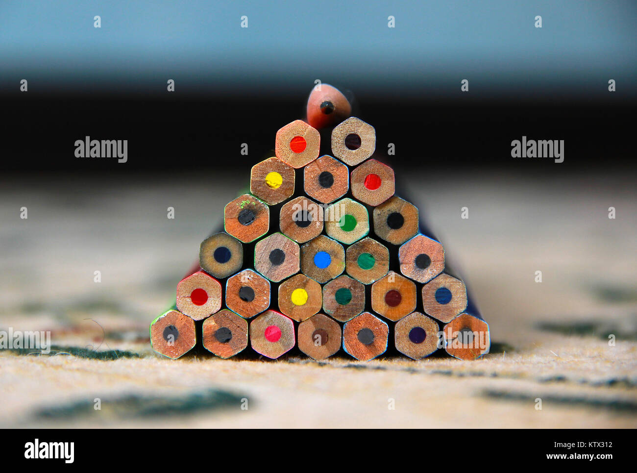 coloured pencil pyramid - Stock Image