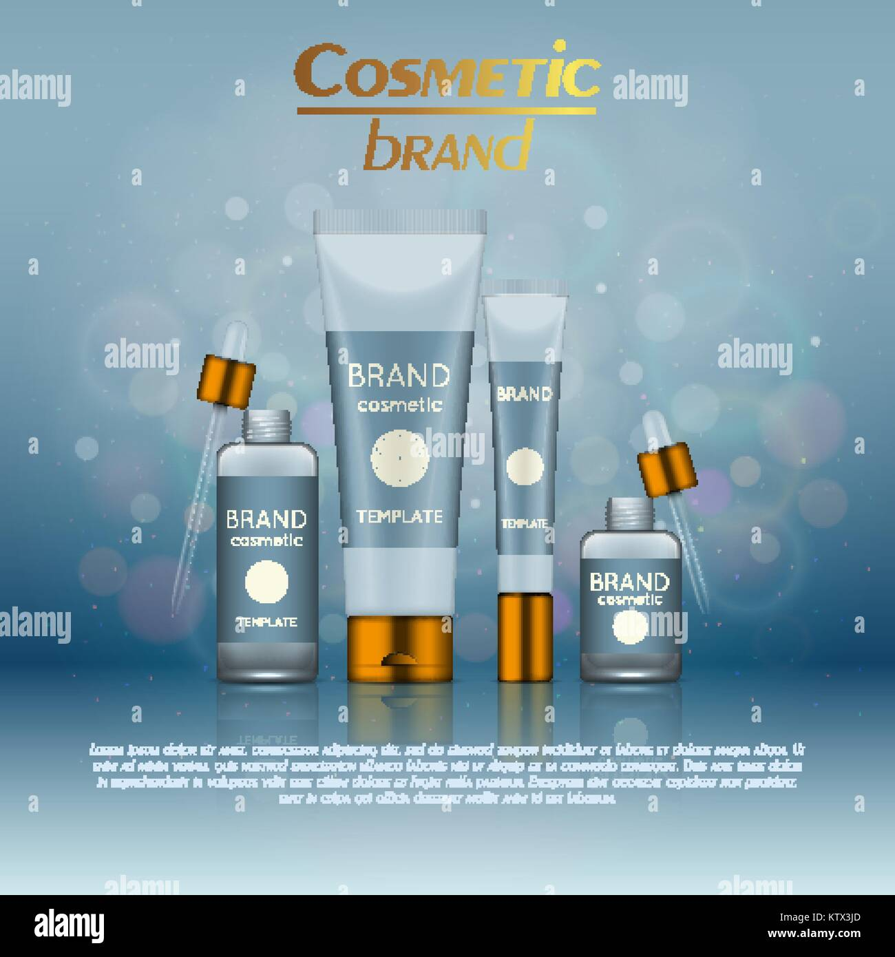 Vector 3D cosmetic illustration on a soft light blurred background with bokeh. Beauty realistic cosmetic product - Stock Vector