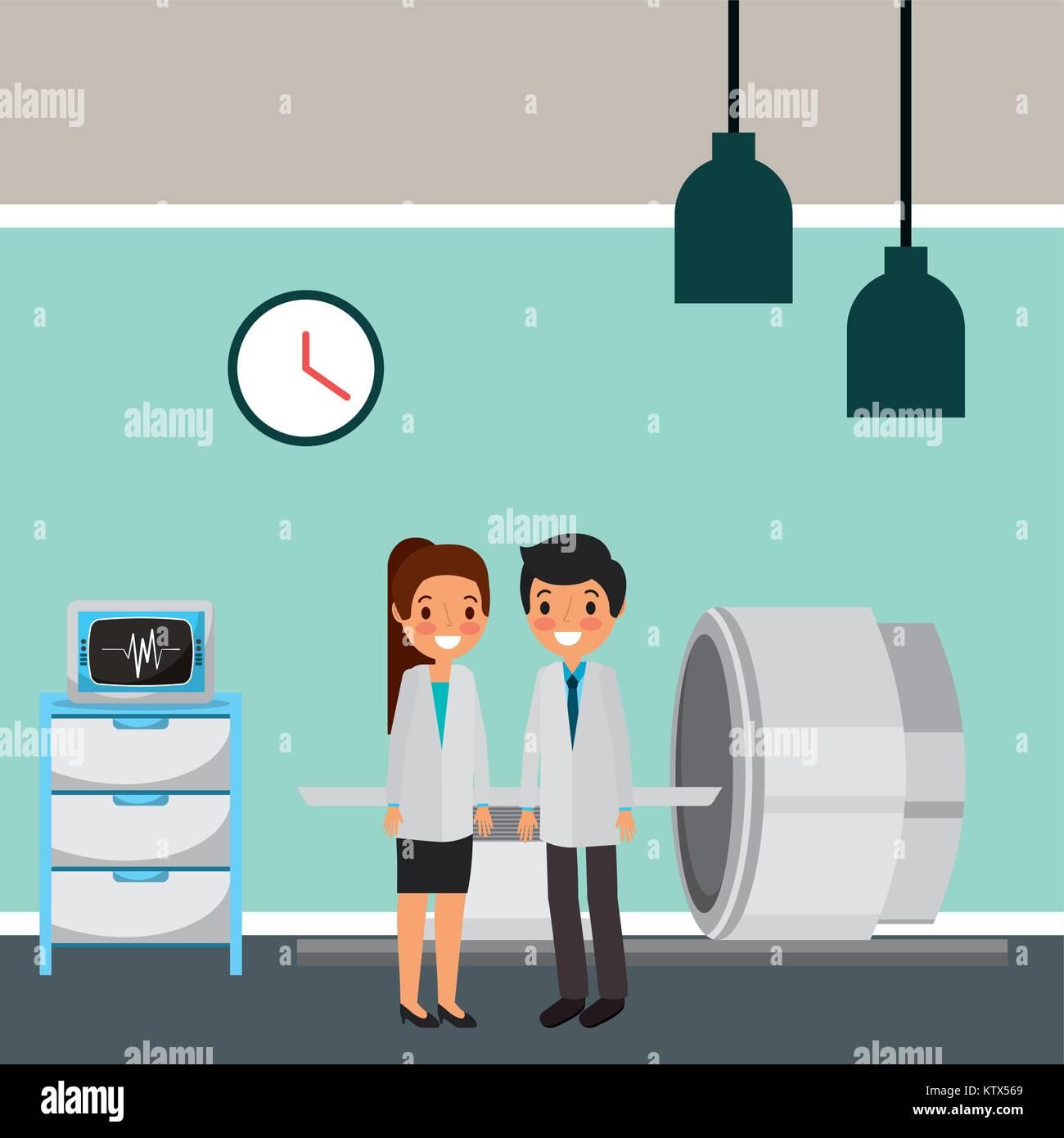 doctors body brain scan machine in procedure room - Stock Image