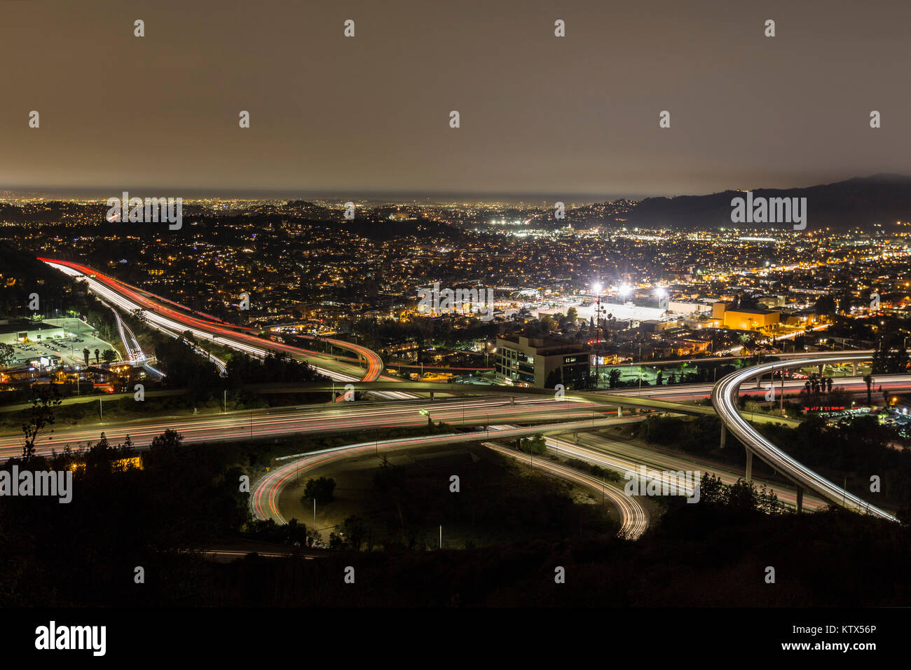 Night view of the Ventura 134 and 2 Glendale freeways in the Eagle Rock neighborhood of Los Angeles, California. - Stock Image