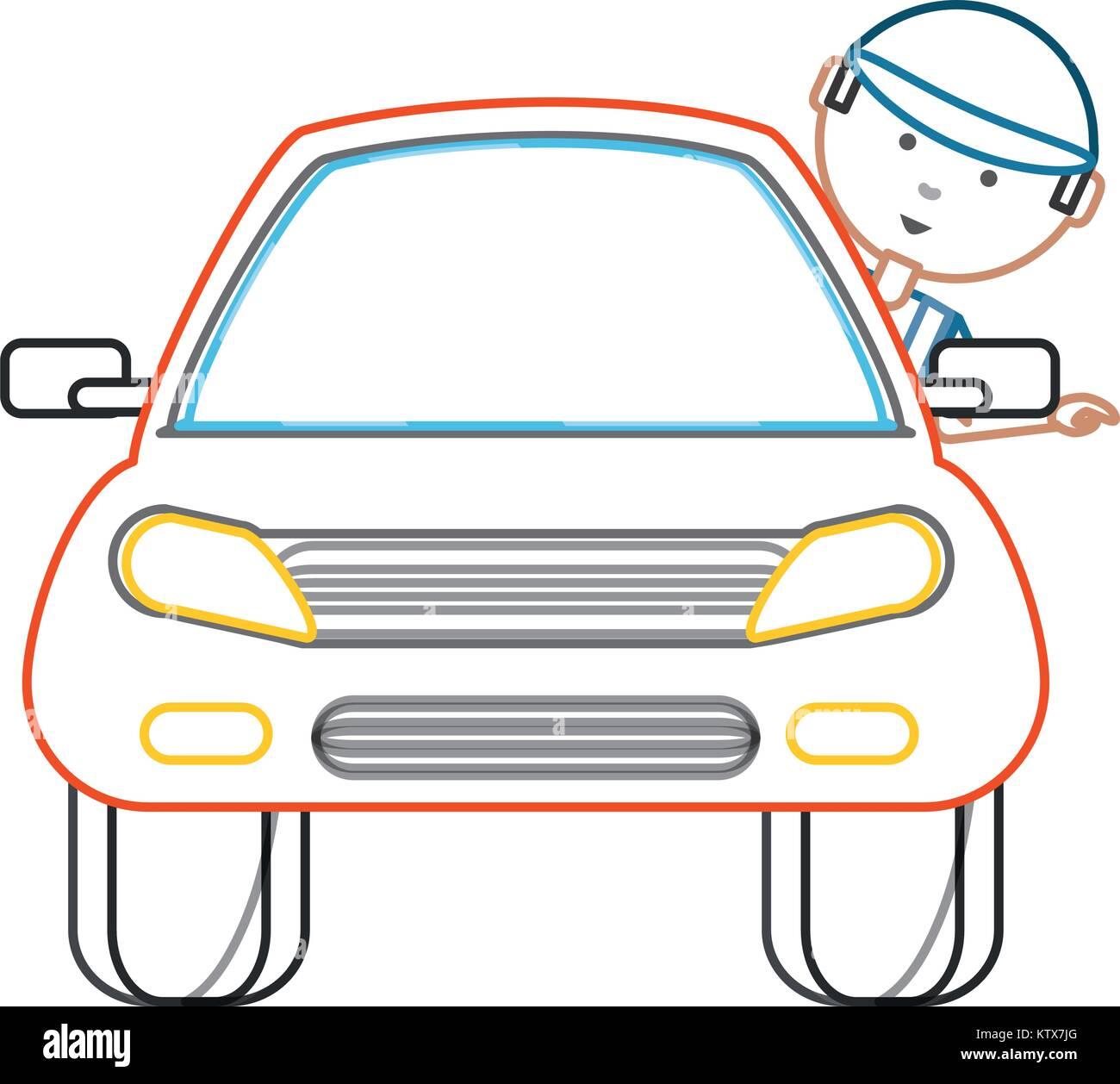 cartoon mechanic and car icon - Stock Vector