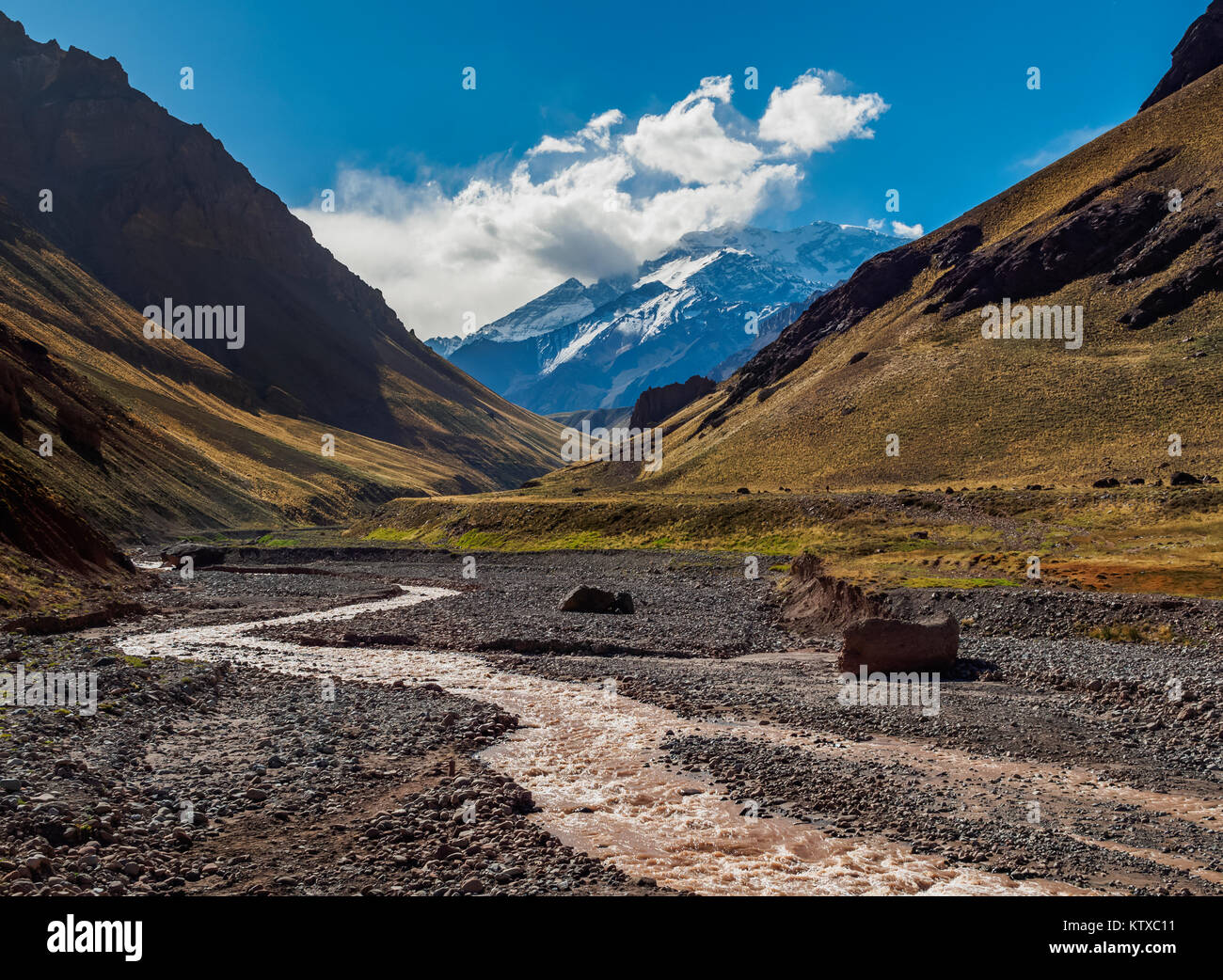 Aconcagua Mountain and Horcones River, Aconcagua Provincial Park, Central Andes, Mendoza Province, Argentina, South - Stock Image