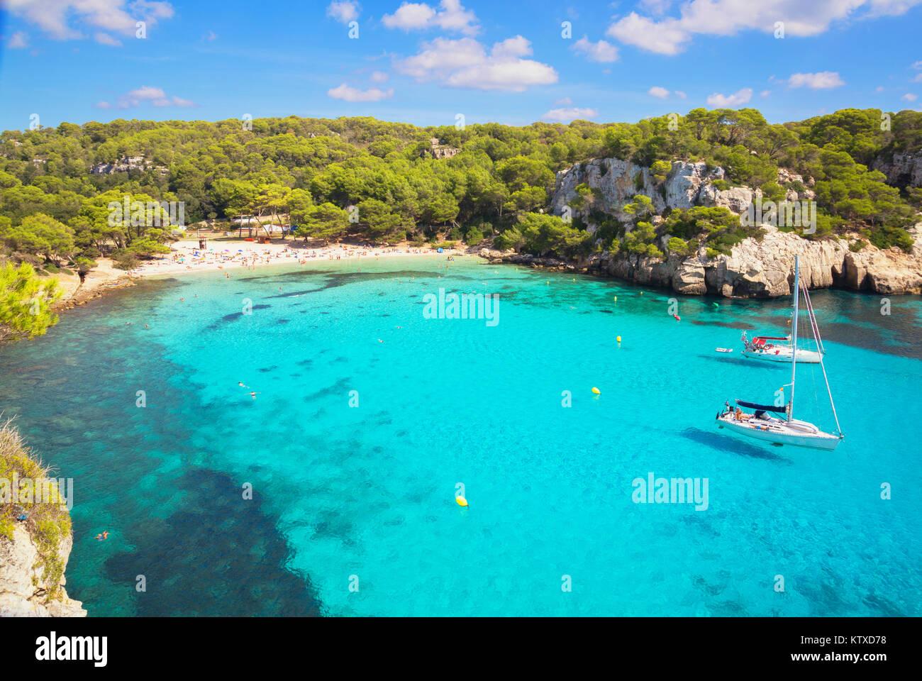 View of Cala Macarella and sailboats, Menorca, Balearic Islands, Spain, Mediterranean, Europe - Stock Image