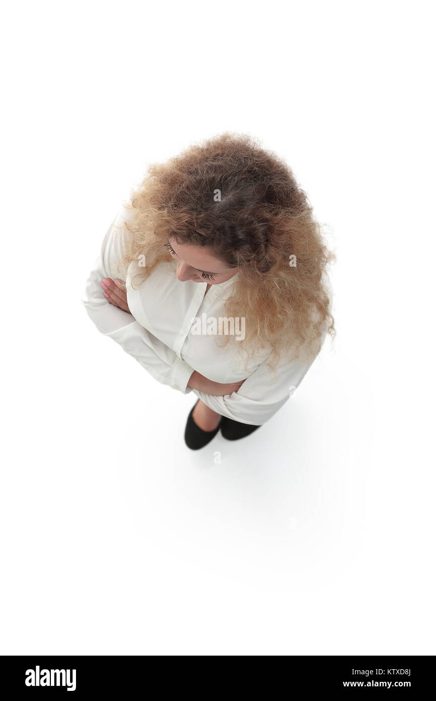 view from the top. business woman - Stock Image