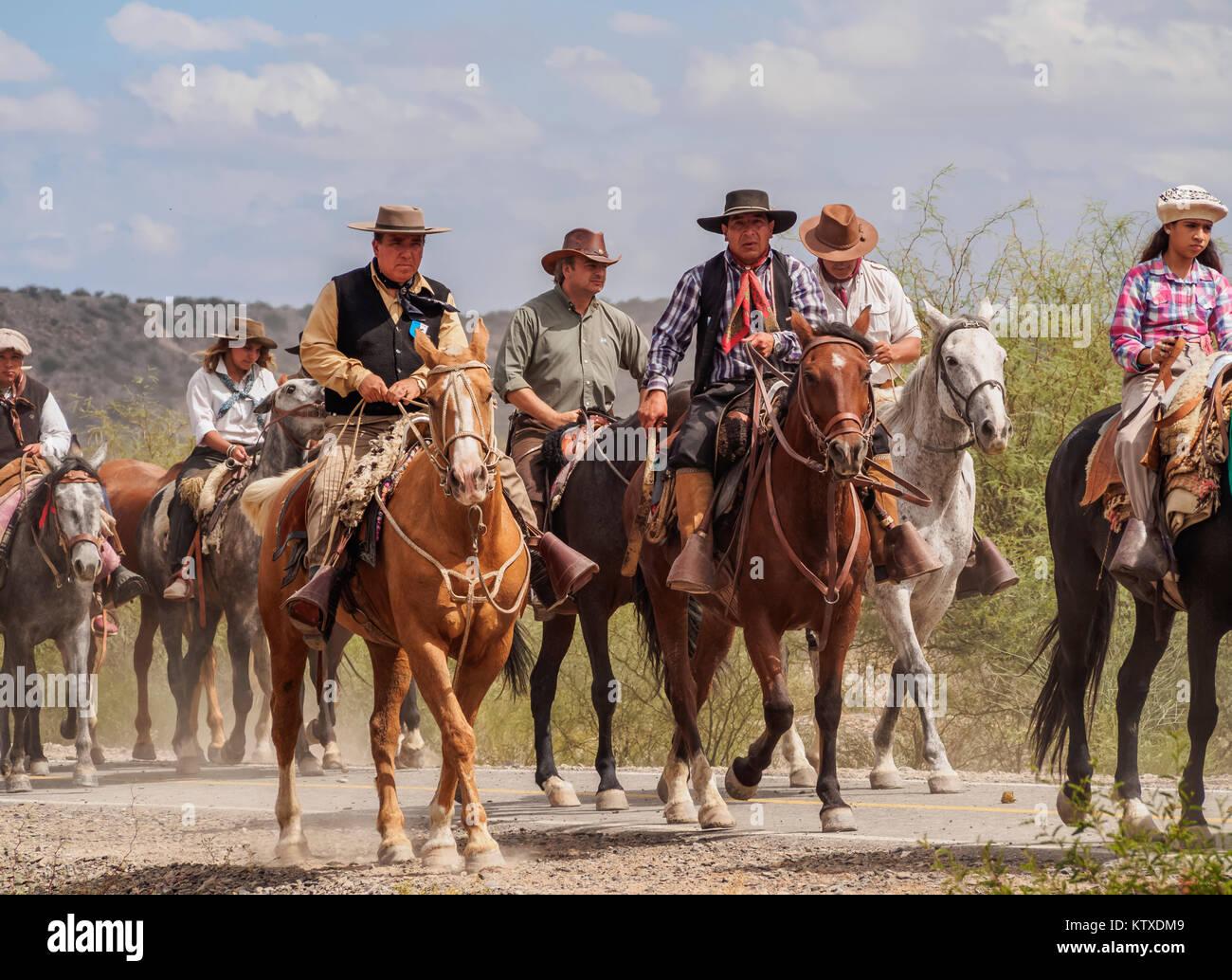 Cabalgata de Los Gauchos, Gaucho horse parade from San Juan to Vallecito, San Juan Province, Argentina, South America - Stock Image