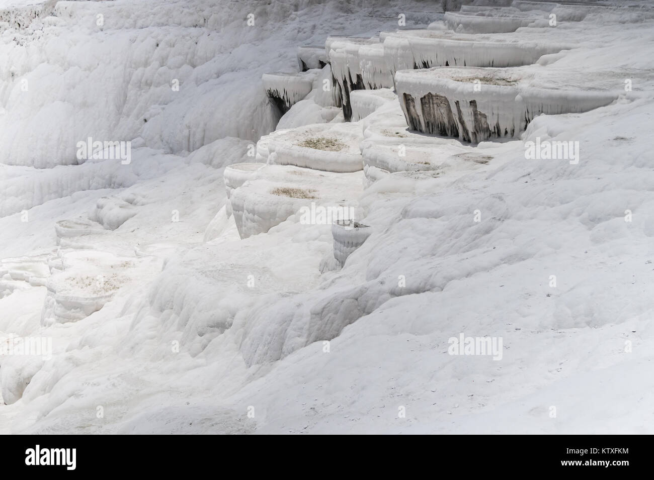 View of the calcareous minerals in Pamukkale - Stock Image
