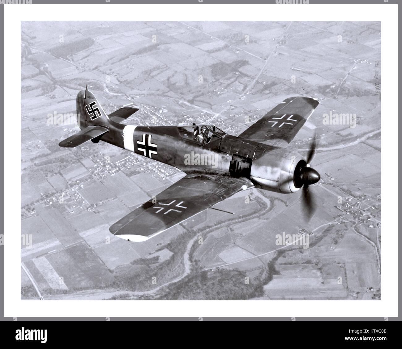 FOCKE-WULF 190 1940's WORLD WAR 2 The German Nazi Luftwaffe on patrol to engage U.S. American Airforce bombers with - Stock Image
