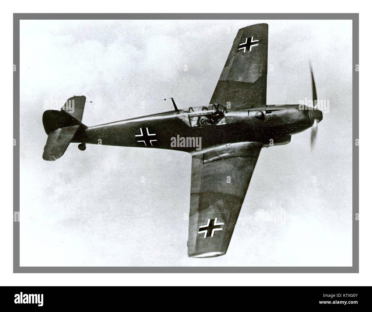 WW2 Messerschmitt-Bf-109 Fighter aircraft used by Nazi Germany Luftwaffe during World War 11 1940's legendary - Stock Image