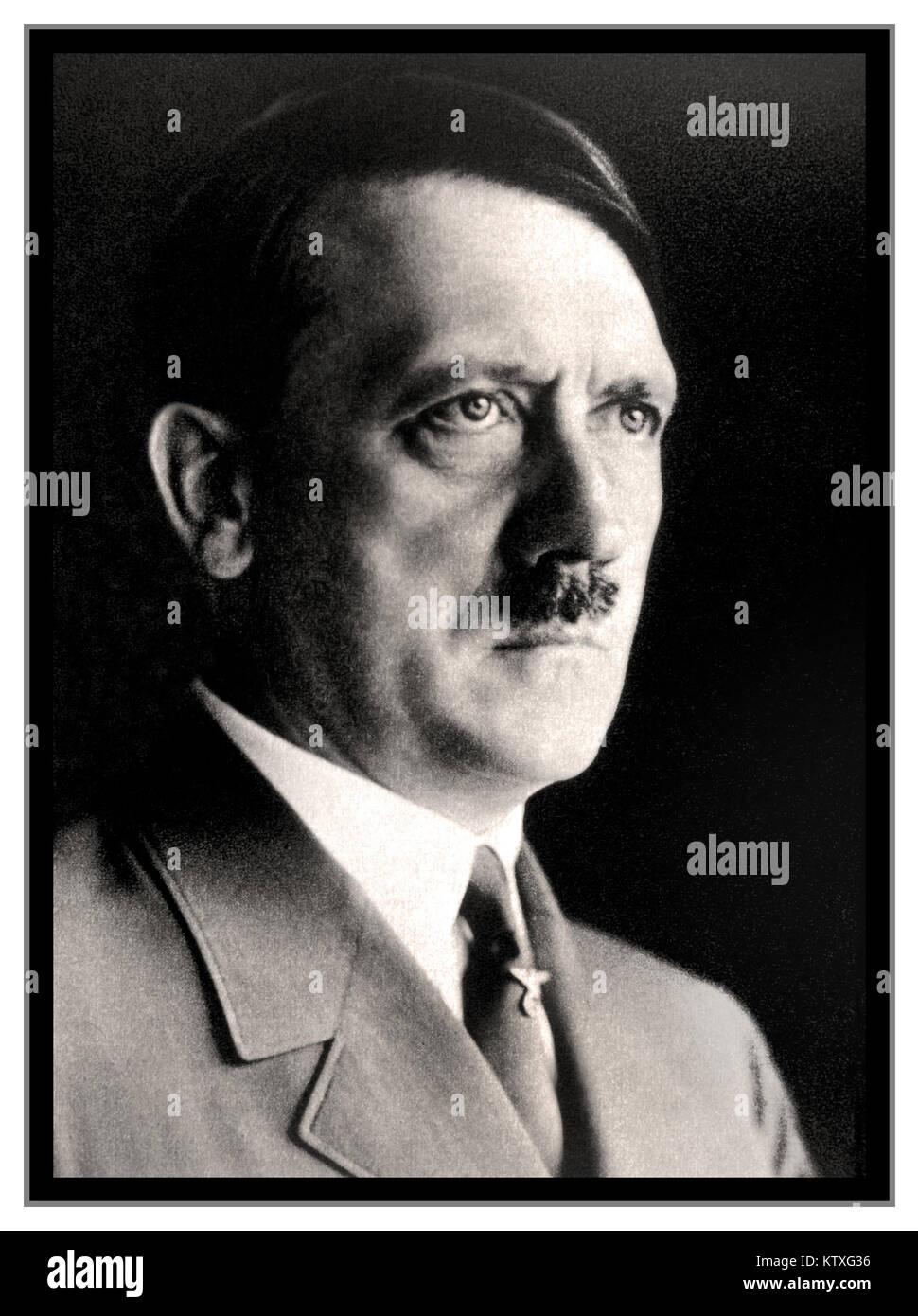 ADOLF HITLER PORTRAIT 1930's B&W studio posed head and shoulder portrait photograph of Adolf Hitler in uniform - Stock Image