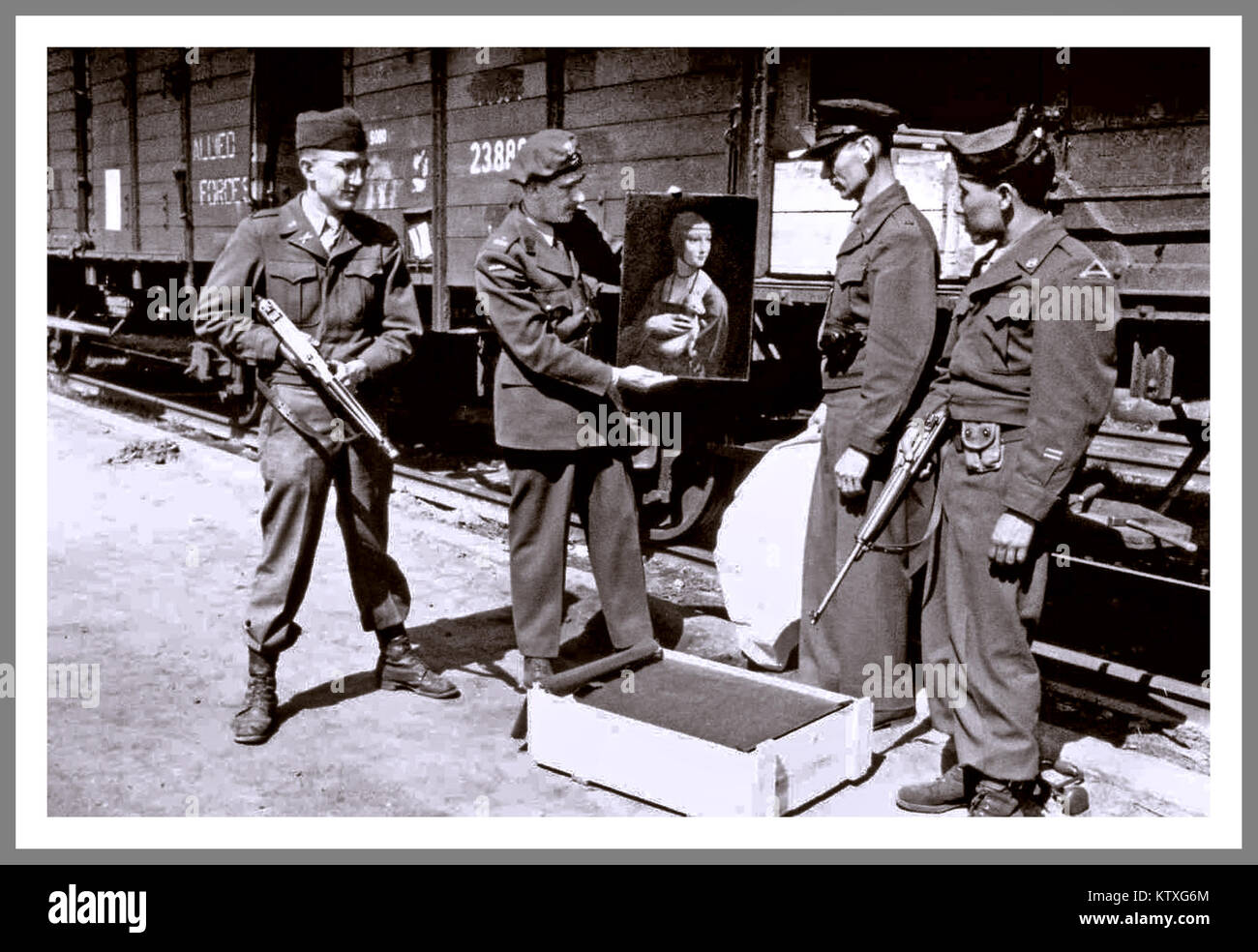 LEONARDO DA VINCI  'Lady with an Ermine' Nazi Loot.  Art historian Karol Estreicher, American MFAA officer Lt. Frank Stock Photo