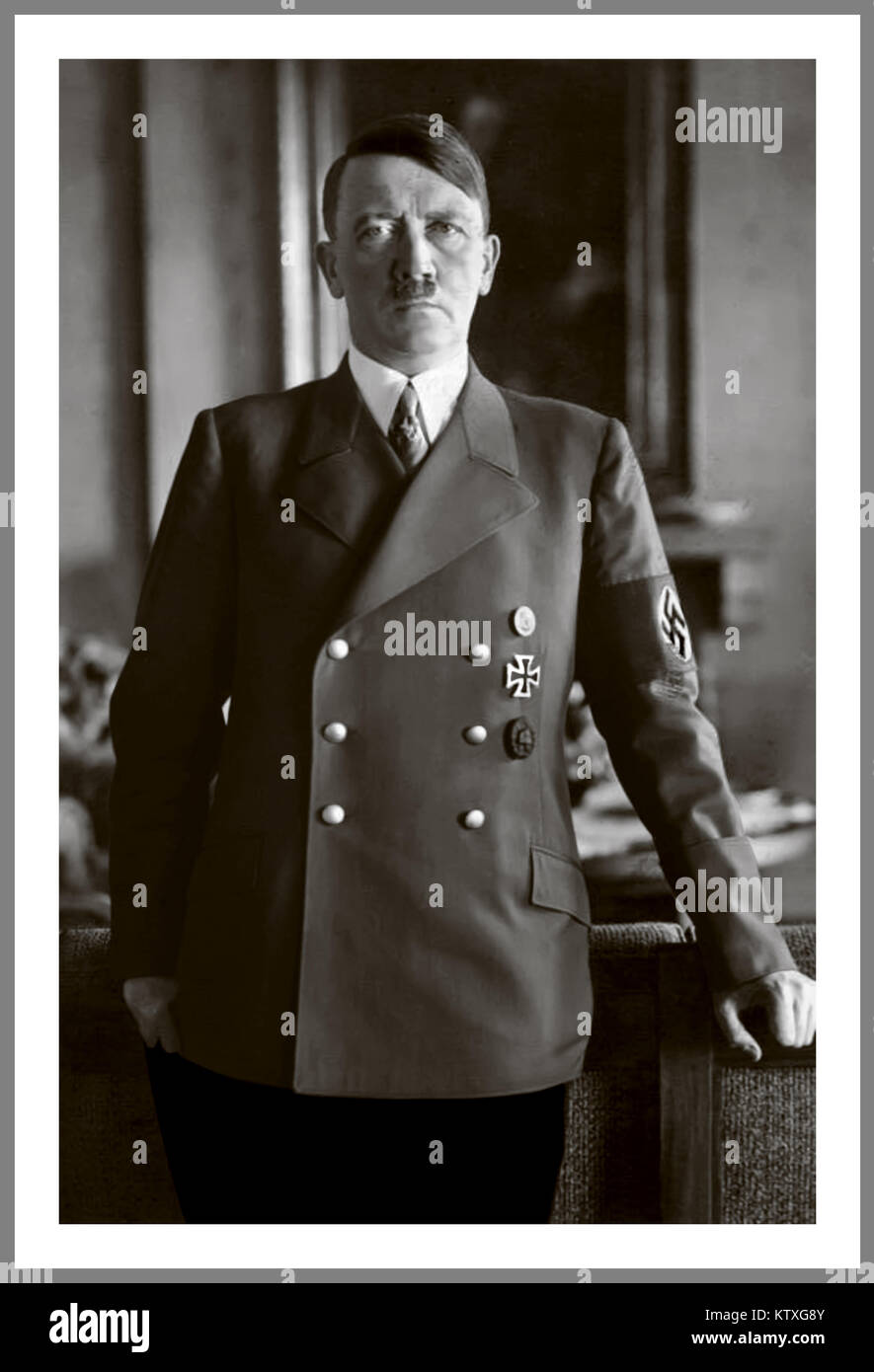 PORTRAIT ADOLF HITLER in military uniform with swastika armband  portrait of Fuhrer Adolf Hitler by Heinrich Hoffman - Stock Image