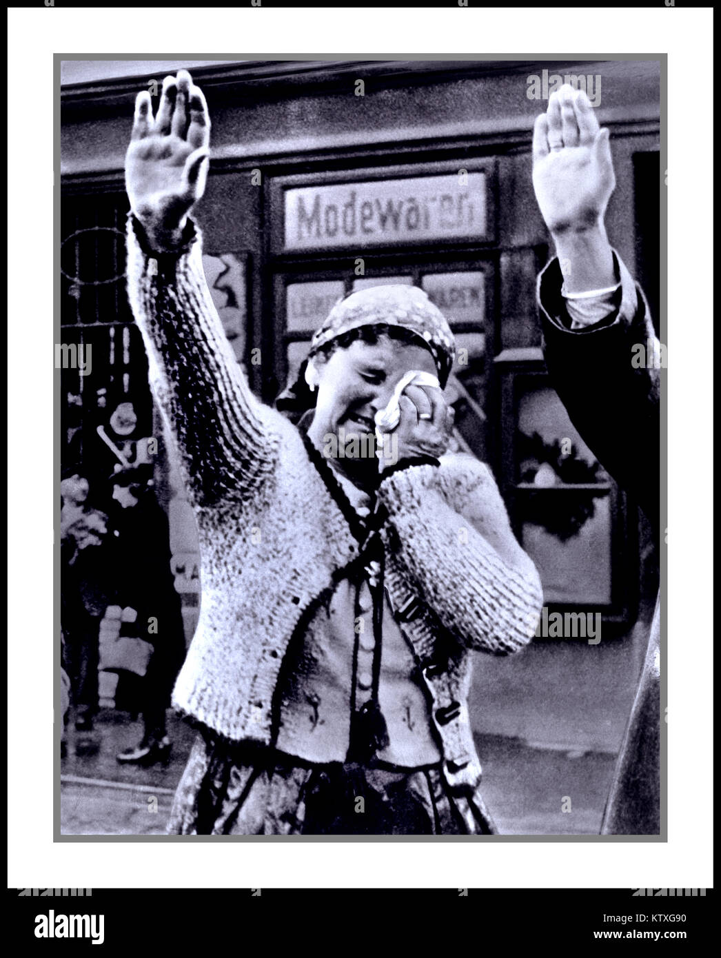 Woman in the Sudetenland weeping upon the annexation (or 'Sudeten Anschluss') of the territory to Nazi Germany. - Stock Image