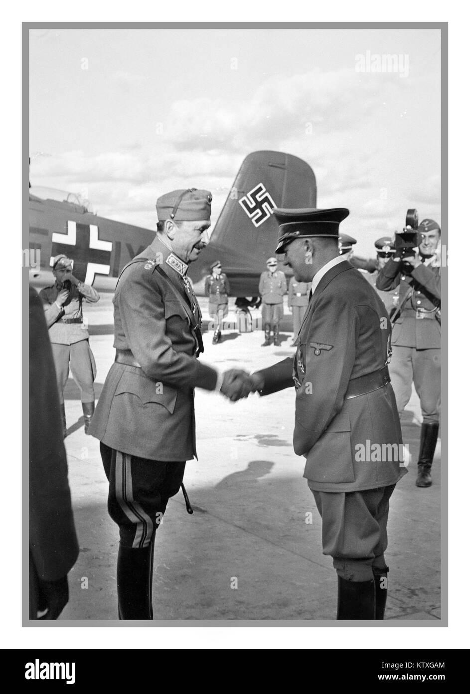 Field Marshal Carl Gustav Mannerheim greets Adolf Hitler June 4th 1942 with Hitlers Luftwaffe Focke-Wulf 200 in - Stock Image
