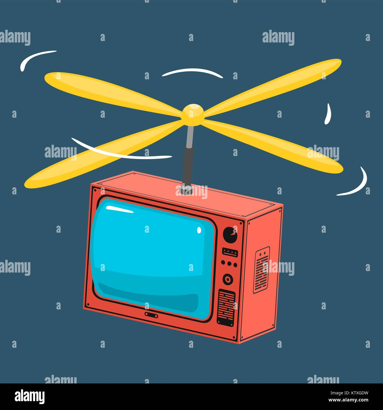 Illustration TV With Propeller - Stock Vector