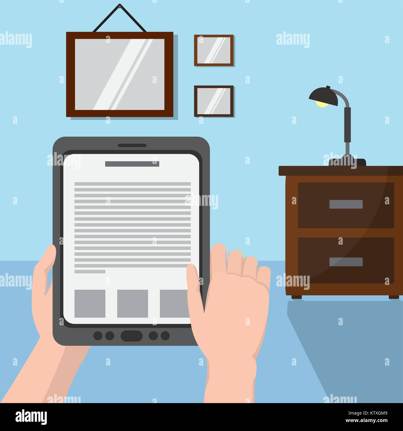 Reading with tablet design - Stock Image