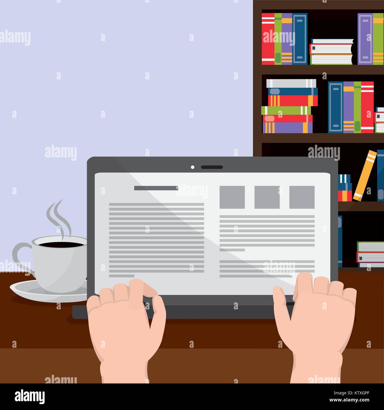 Reading with laptop design - Stock Image