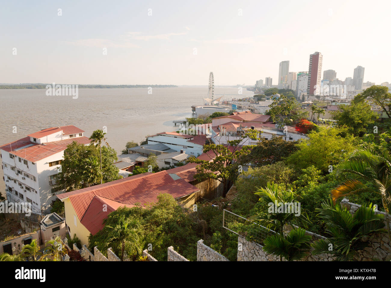 Guayaquil - view of the waterfront (  Malecon ) from Sanata Ana hill, Guayaquil, Ecuador South America - Stock Image