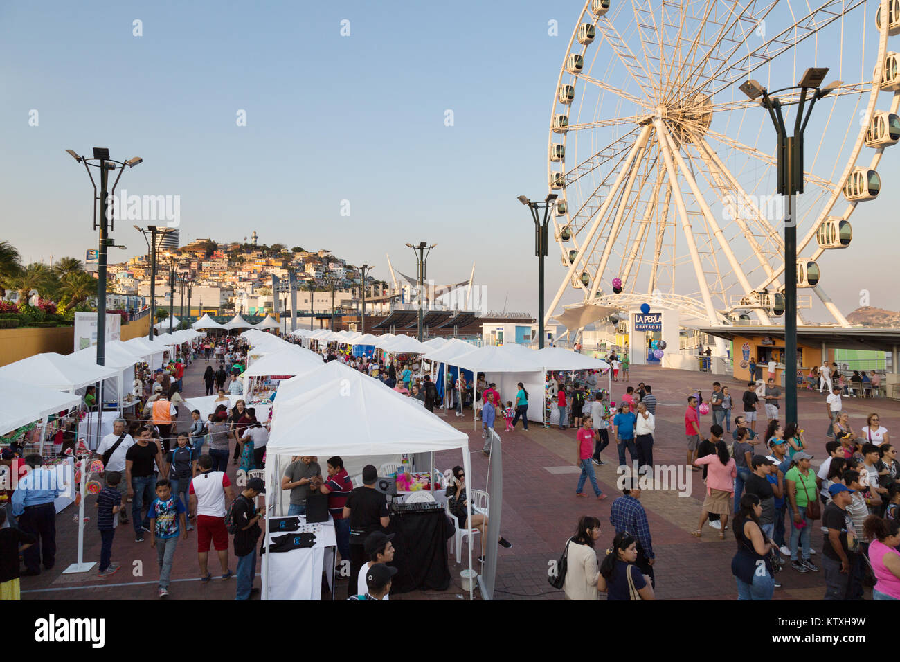 Guayaquil, Ecuador, people on the waterfront development, or Malecon, Guayaquil city, Ecuador, South America - Stock Image
